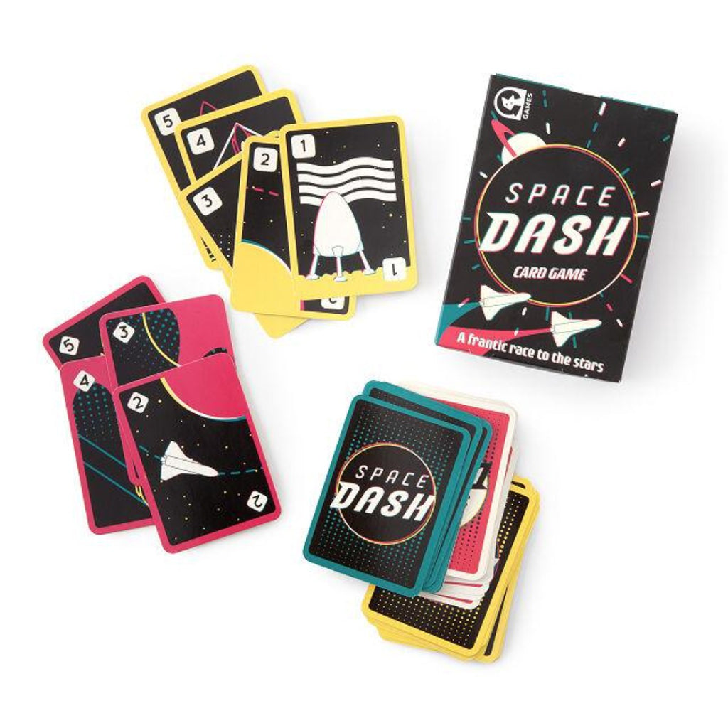 Image featuring the packaging of the space dash game including a variety of cards on display