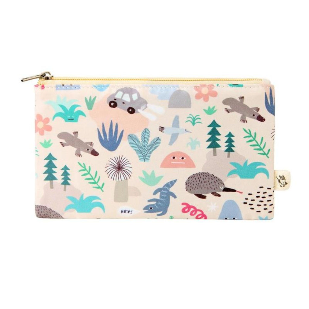 Pencil Case with pastel pink background featuring graphic Australian iconography such as a car, platypus, echidna and desert plants