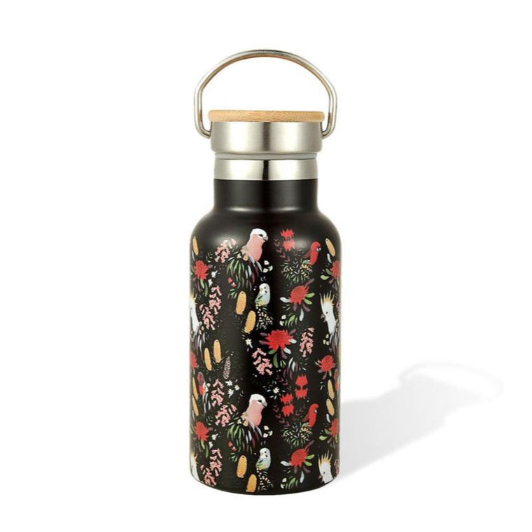 Black Water Bottle 300ml featuring Australian birds and Australian florals