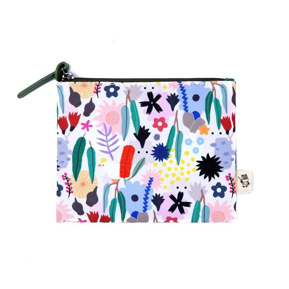Coin Purse featuring graphic illustration of australian flowers and wildlife