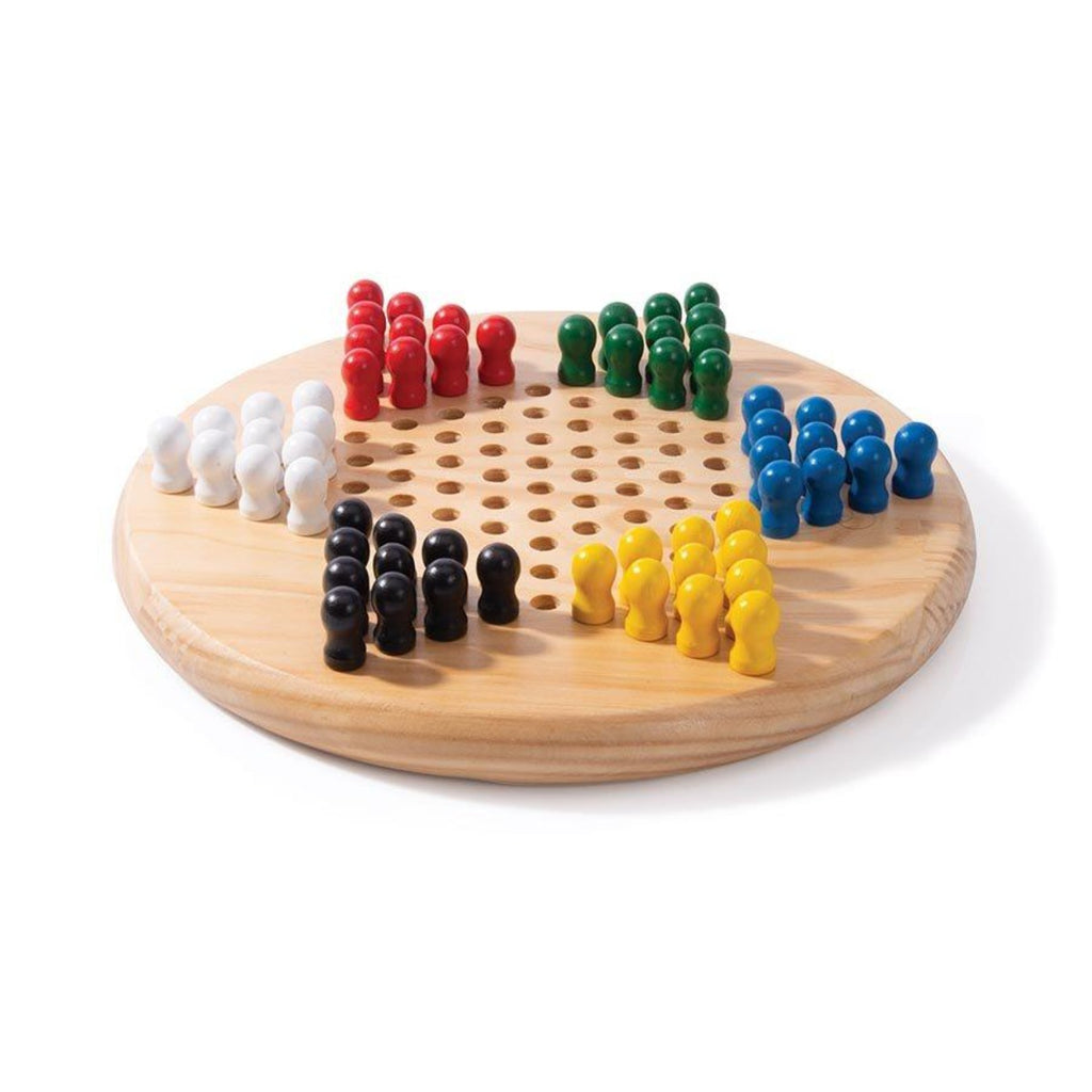 Image featuring what is included within the Chinese Checkers game, this image features the round beechwood board and the colourful peg pieces in the colours white, red, green, blue, yellow and black