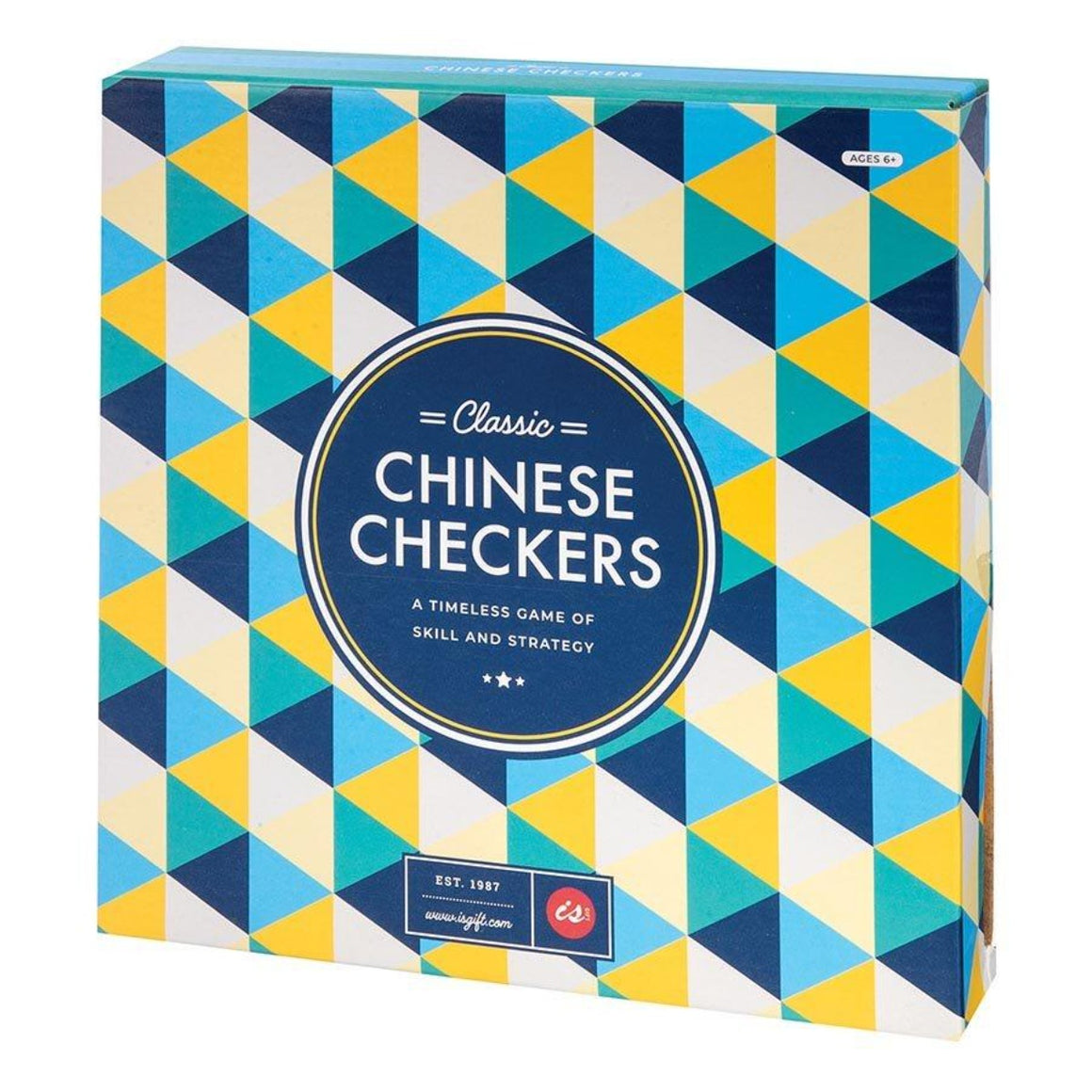 Image featuring the packaging for the Chinese Checkers game which features the colours blue, navy, teal green, yellow and white all in a triangle pattern - which also includes the words Classic Chinese Checkers - a timeless game of skill and strategy