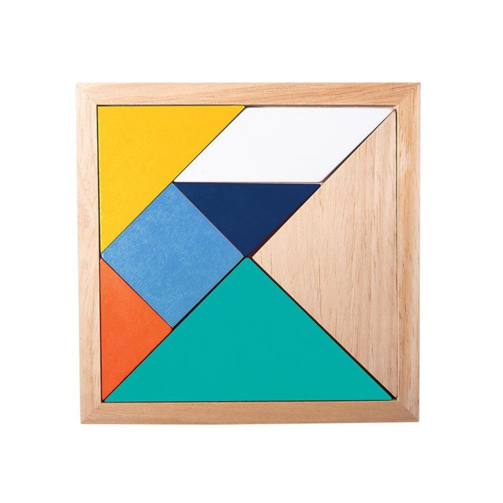 Image featuring the Tangrams game which is made in wood and includes a variety of shapes such as a triangle, square in different colours such as yellow, orange, blue, navy, teal green and beechwood tan