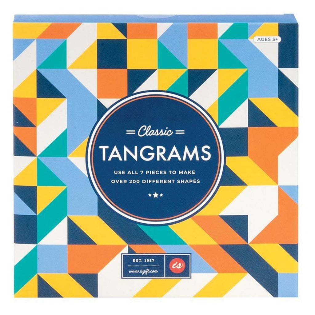 Image featuring the packaging of the classic Tangrams game which includes a multi-coloured cover which includes the colours orange, blue, teal green, white and yellow as well as the words Classic Tangrams - use all 7 pieces to make over 200 different shapes