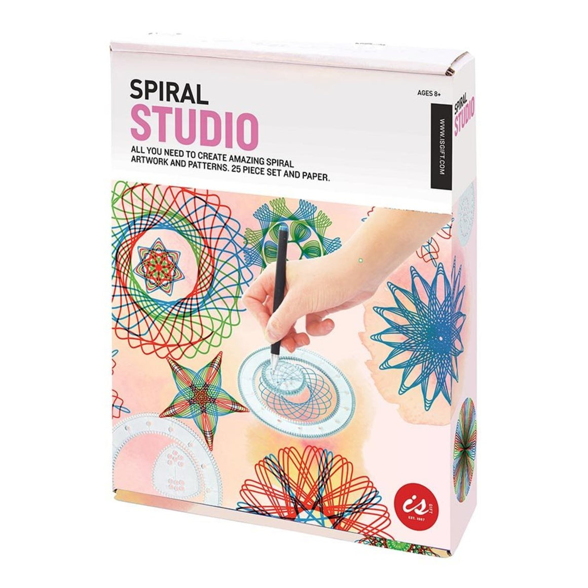 "A box kit "" Spiral Studio"", The cover shows a hand drawing spirals with the assistance of the tools in the kit."