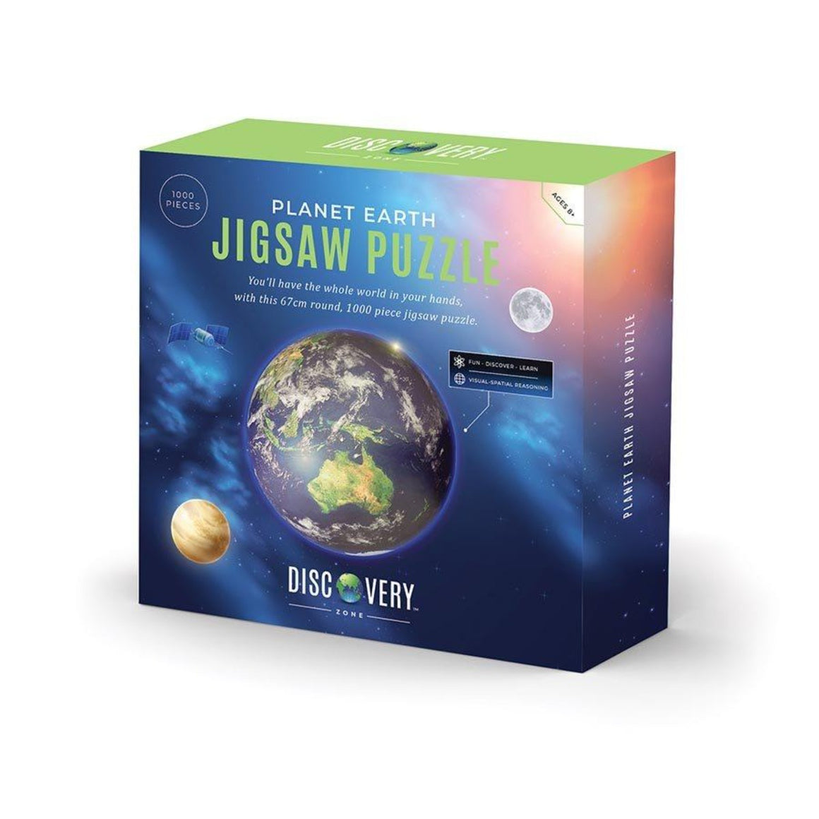 Image of the photograph of the products packaging which features a graphic of the earth, the moon and another planets in space which the text Planet Earth Jigsaw Puzzle - you'll have the whole world in your hands with this 67cm round, 1000 piece jigsaw puzzle with the Discovery Zone logo on the bottom