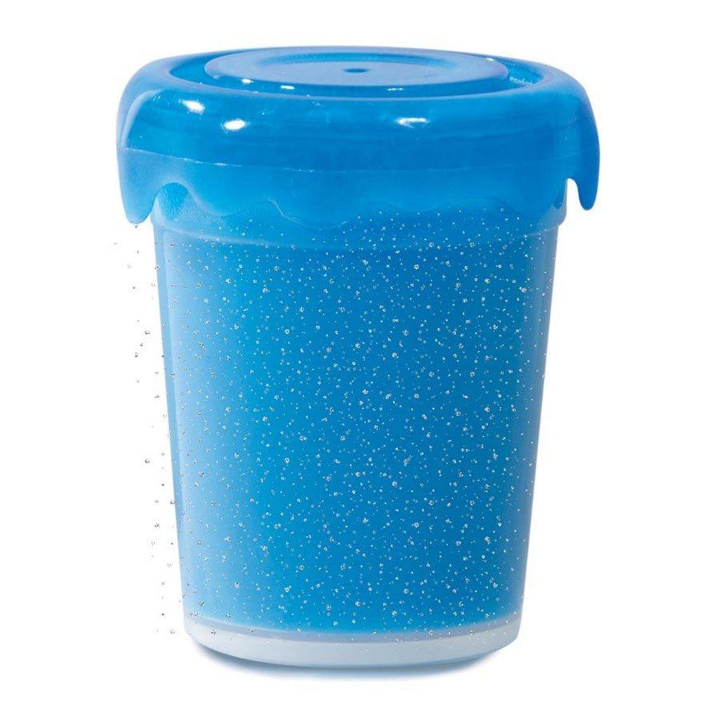 Image featuring a tub of blue glittered slime