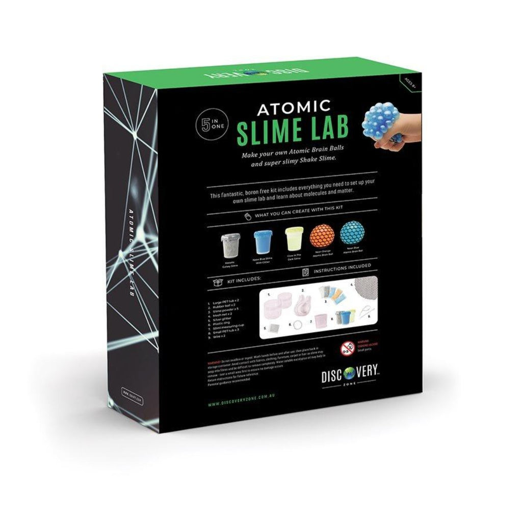 Image featuring the back of the packaging for the atomic slime lab kit