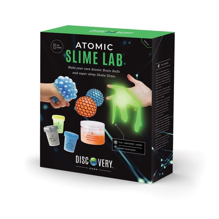 Image featuring the packaging of the Atomic Slime Lab Kit, which features images of what is included within the activity kit - this includes three tubs of slime, netting