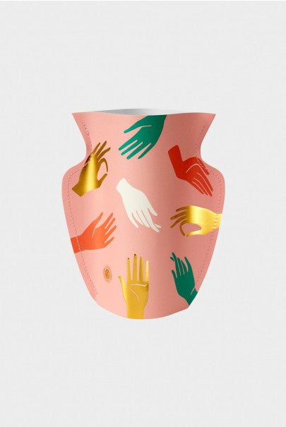 Paper Vase featuring Hamsa print in pink with illustration of graphic hands