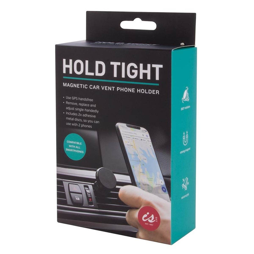 Packaging featuring an image of the magnetic car vent phone holder
