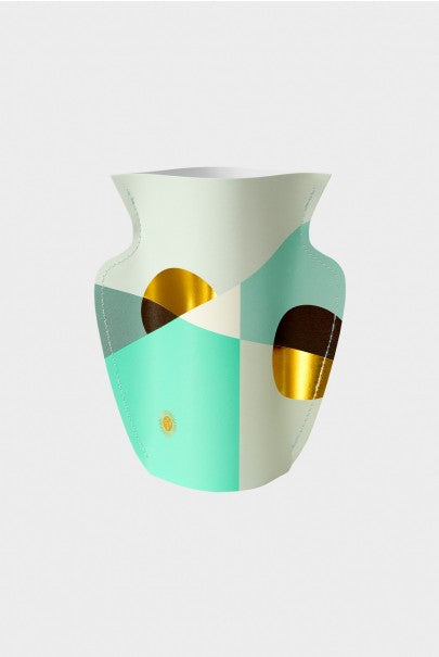 Paper Vase featuring Siena print in mint and gold