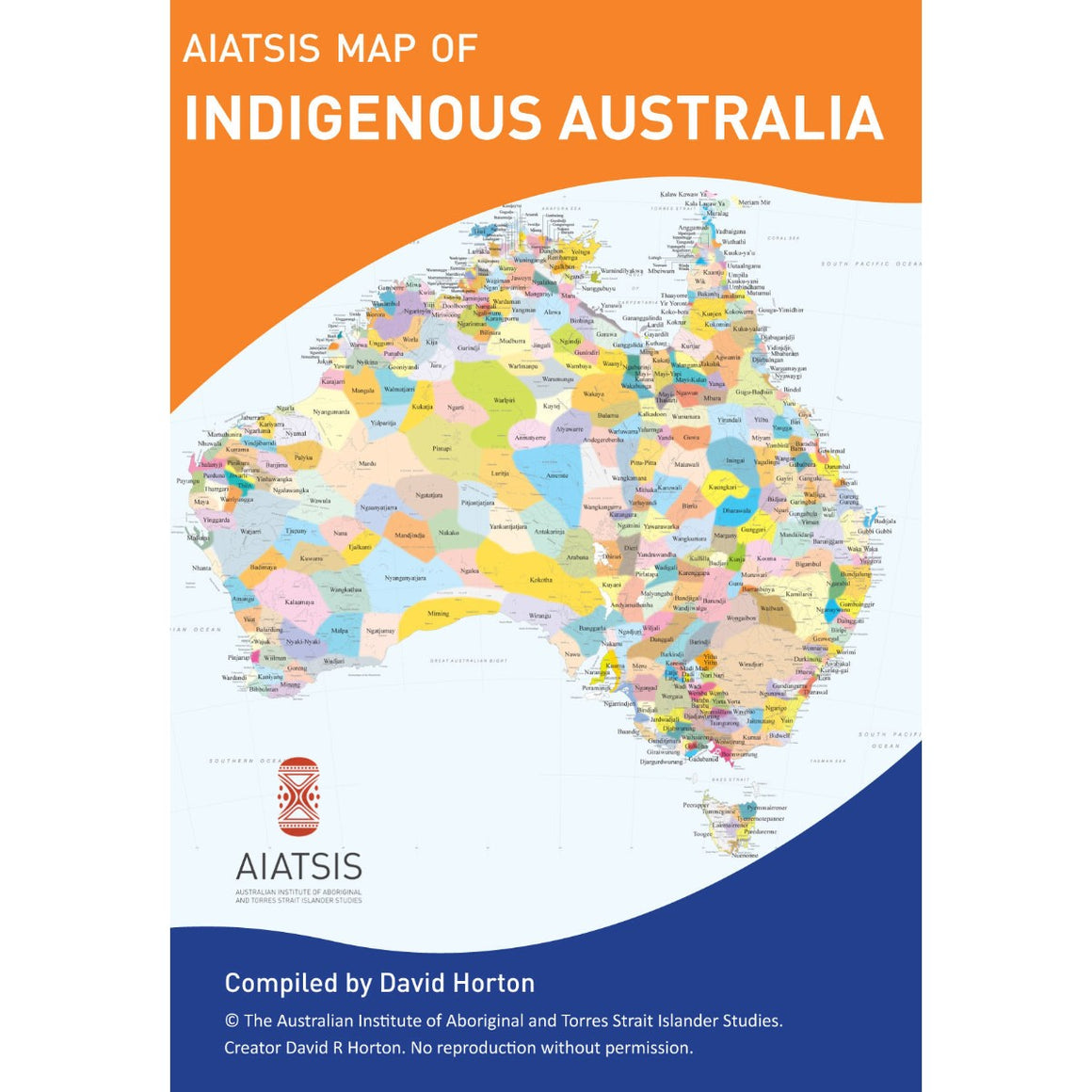 "The cover of a fold out map titled "" AIATSIS Map of Indigenous Australia"". That map on the cover shows the continent of Australia broken up into the different indigenous language groups."