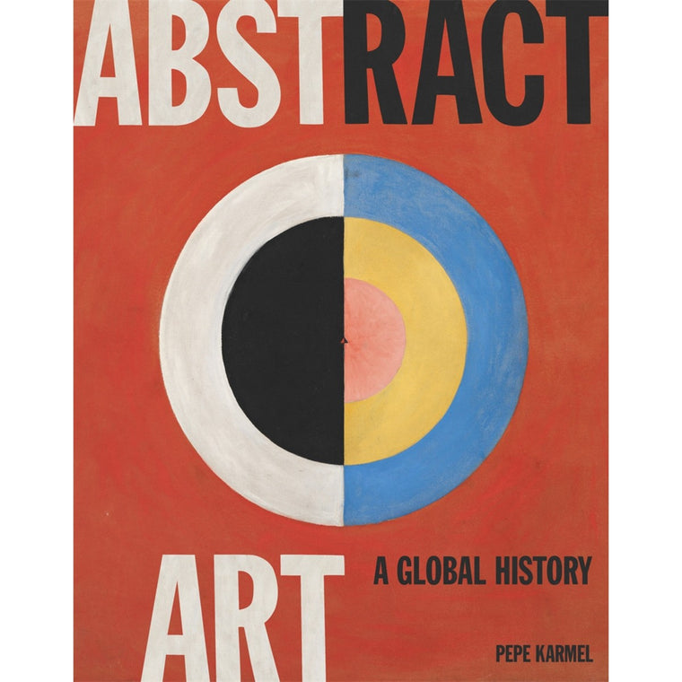 A Red book cover with an abstract circular artwork in bold primary colours, peach, black and white.
