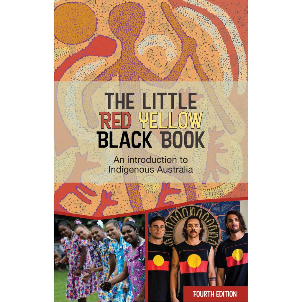 A book cover featuring multiple images including a photo of three indigenous Men wearing the aboriginal flag; A group of indigenous women in brightly coloured dresses; and a dot painting in warm tones of red, orange and yellow.