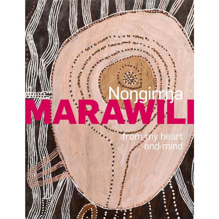 A Monograph book cover featuring an artwork by Nongirrna Marawili in brown, tan and cream tones.