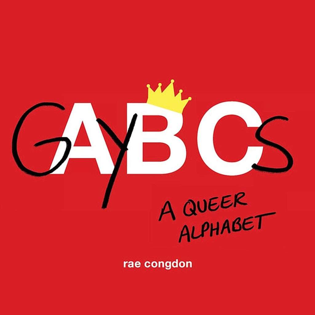 "A red book cover with bold writing in black and white "" GAYBCS"". There is a yellow crown atop the B."
