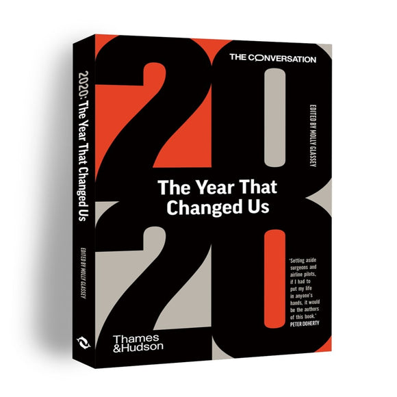 Image of a book cover featuring the number 2020 in big bold black text with the year that changed us in a white font in the middle