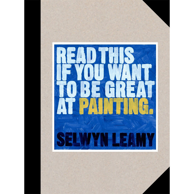A book cover with the book title written in white and yellow paint on a blue paint background.