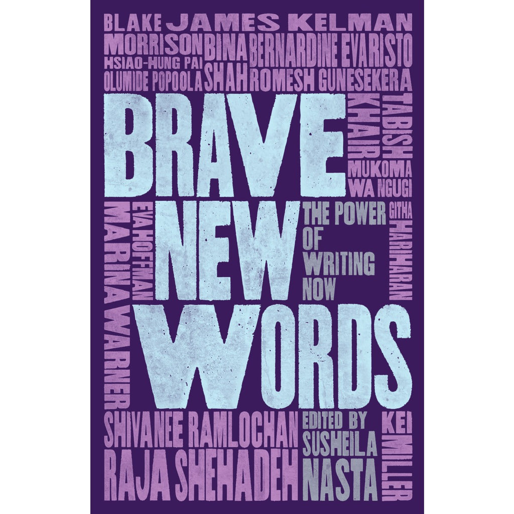 A purple book cover covered in bold text in light purple, light blue and grey.
