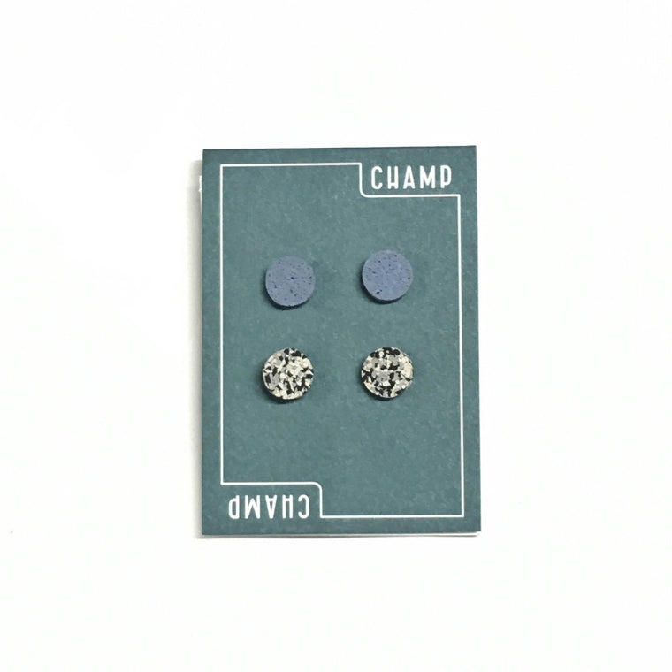 Set of Four Earring Studs featuring blue and grey speckle colours