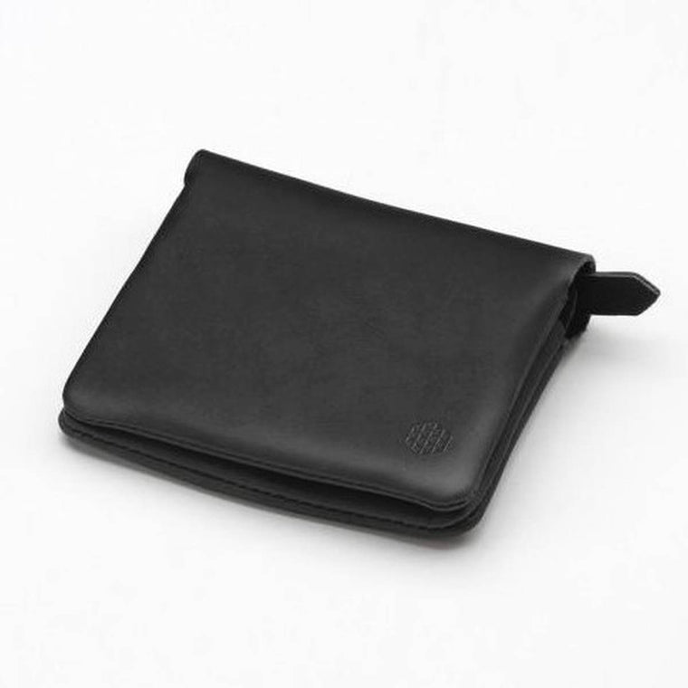 A black leather fold wallet.