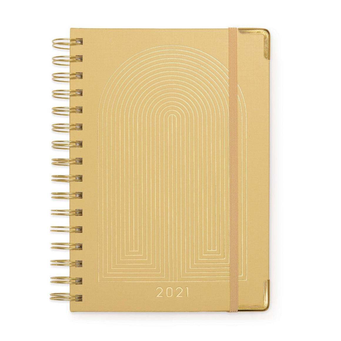 2021 Diary | 12 month weekly | spiral bound | yellow radiant rainbow