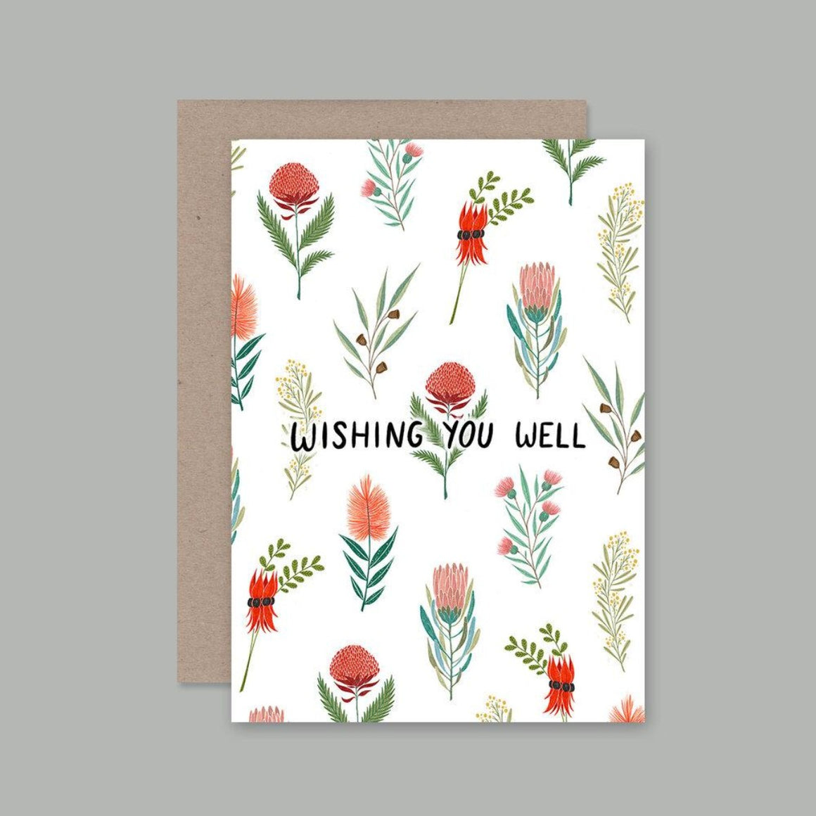 Greeting Card featuring illustrations of Australian flowers and the words wishing you well