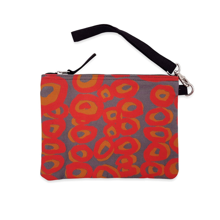 Clutch bag | Ikuntji Artists | Rockholes by Alice Nampitjinpa Dixon | grey & red