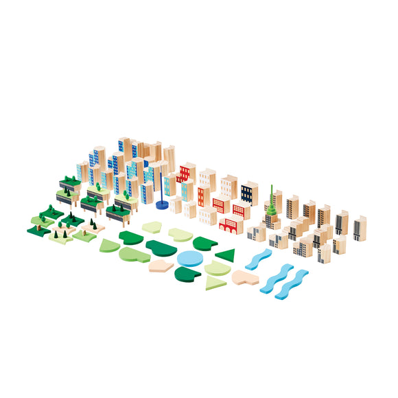 a Set of building blocks with pieces inspired by the buildings and public spaces of New York City