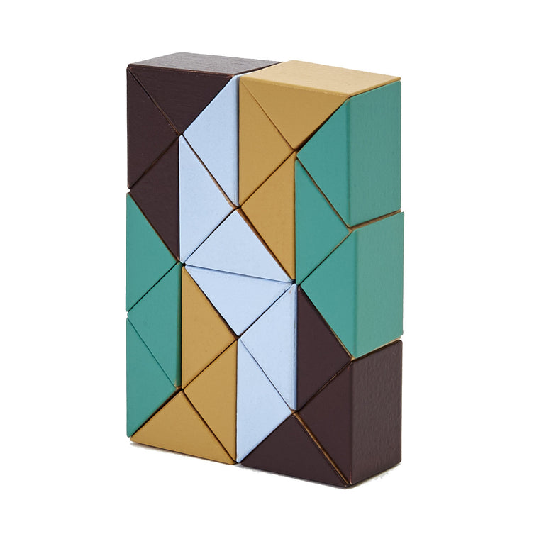 A wooden snake puzzle made of  wooden triangles interconnected by elastic. Each triangle is individually painted in contrasting deep brown, yellow ochre, pastel blue and turquoise green.Shown folded into a rectangle.