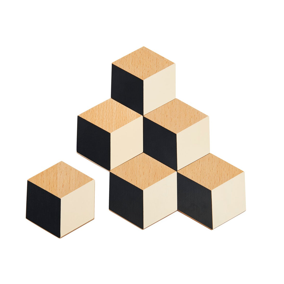 A set of 6 geometric stylised table coasters. Made to look like cubes, they feature Natural wood, as well as black and cream diamonds
