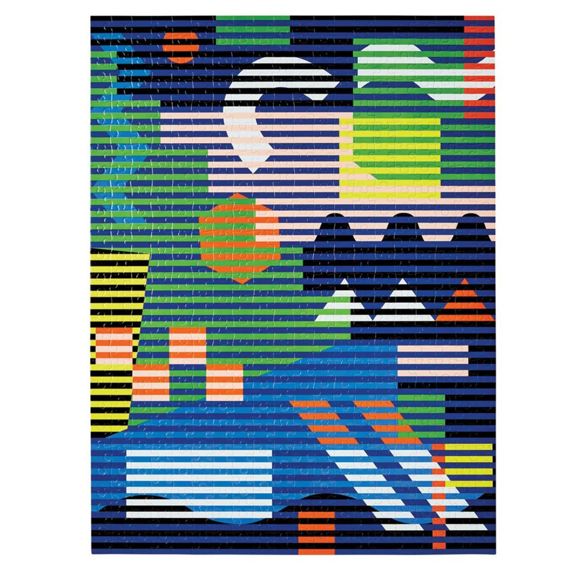 A 500 piece puzzle featuring an abstract design by Dusen Dusen. Geometric shapes and block colours are overlayed with horizontal stripes in bold and contrasting shades of blue, green, yellow, pink, red, orange, black and white.