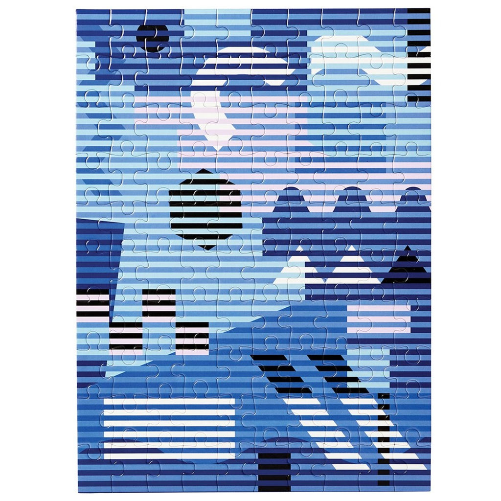A 100 piece puzzle featuring an abstract design by Dusen Dusen. Geometric shapes and block colours are overlayed with horizontal stripes in bold and contrasting shades of blue, pastel pink, white and black.