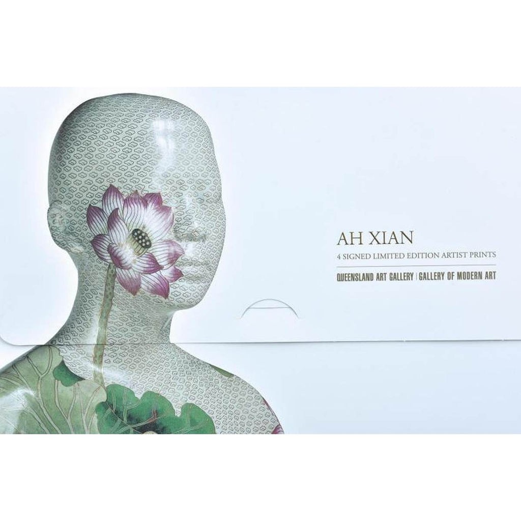 A folio style folder, featuring a photographic print of a highly decorated bust sculpture created by Australian Artist Ah Xian.