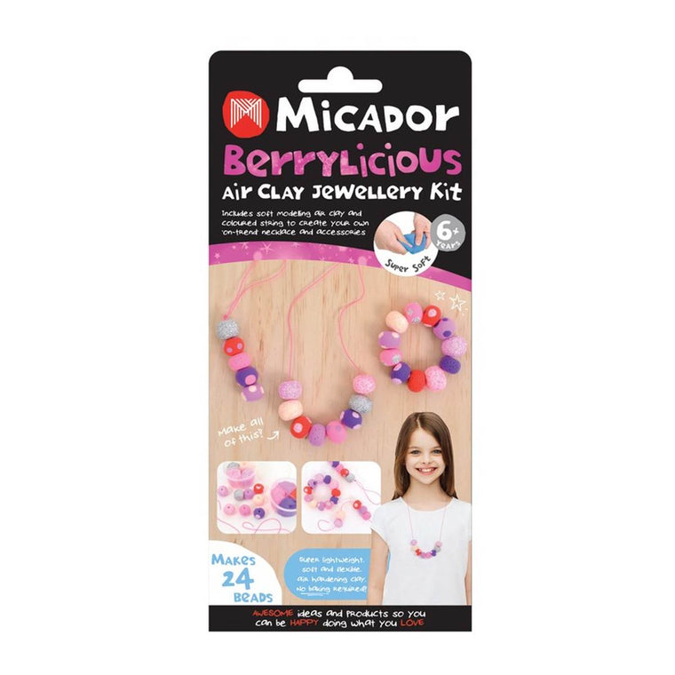 "An Air Clay jewellery kit in 'Berrylicious colours' of rich red, purple and pink, and pastel pink purple and cream.. The box shows completed multicolour beaded bracelets and necklace and text states ""Makes 24 Beads"""