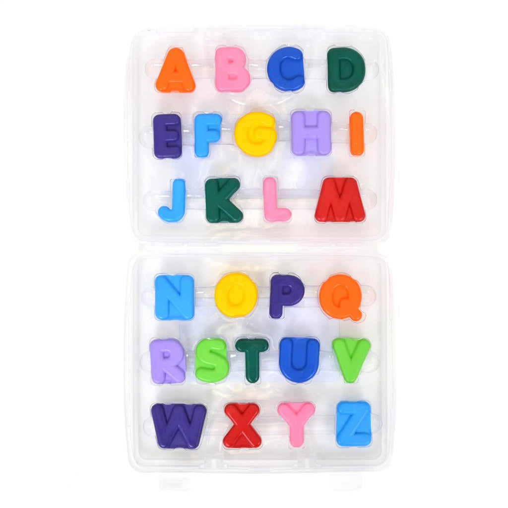 A full boxed set of Alphabet shaped crayons in assorted rainbow colours.