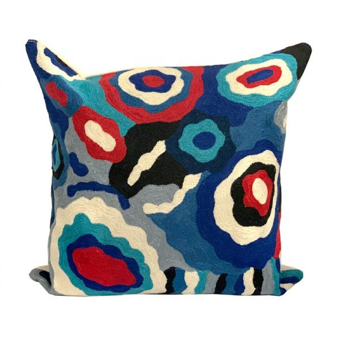 An embroidered wool Cushion featuring an Aboriginal Artwork in Blue, Red, white and black tones.