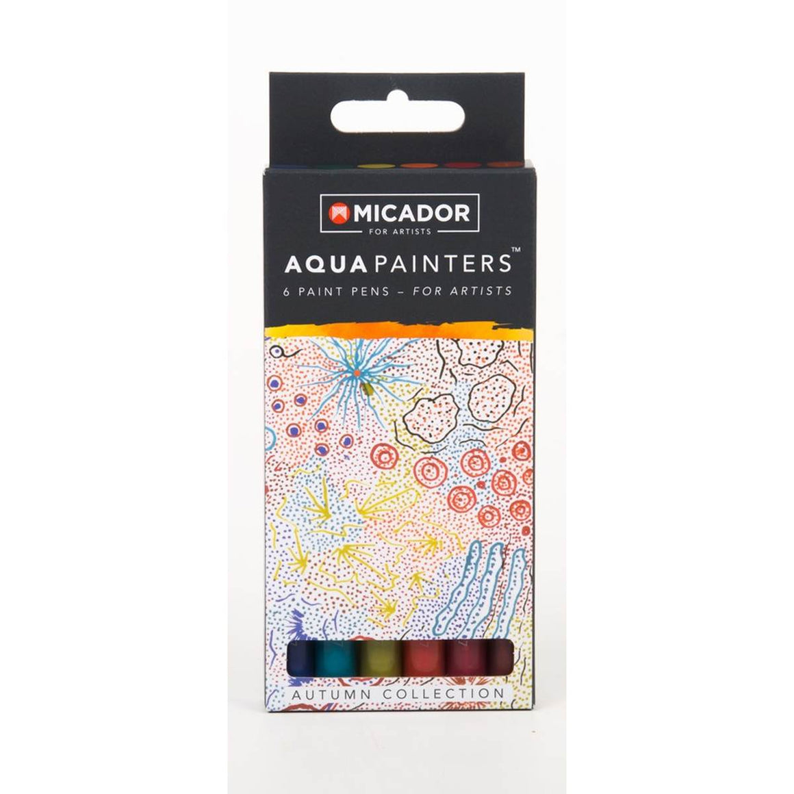 "A boxed set of 6 Autumn themed paint pens ""for artists"". Colours included are: Blue, Teal. Golden Yellow, Orange, Deep Red and Chestnut Brown."