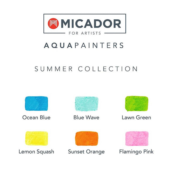 "A boxed set of 6 Summer themed paint pens ""for artists"". Bright Vibrant Colours included are: Blue, Aqua, Grass Green, Lemon Yellow , Orange and Pink."