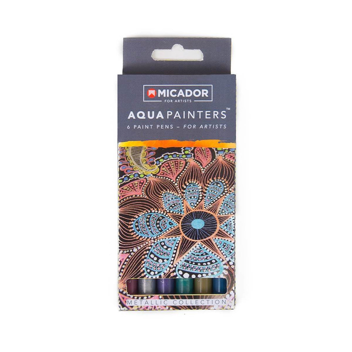 "Micador Australia Pty LtdA boxed set of 6 metallic paint pens ""for artists"". Colours included are: Silver, Gold, Red, Purple, Blue and Green."