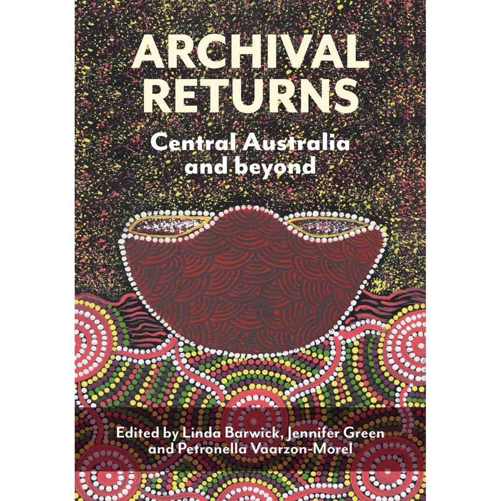 A book cover with Aboriginal cover art. The painting includes dot painting, stippling and a red vessel motif in red, yellow, green, brown, black and white.