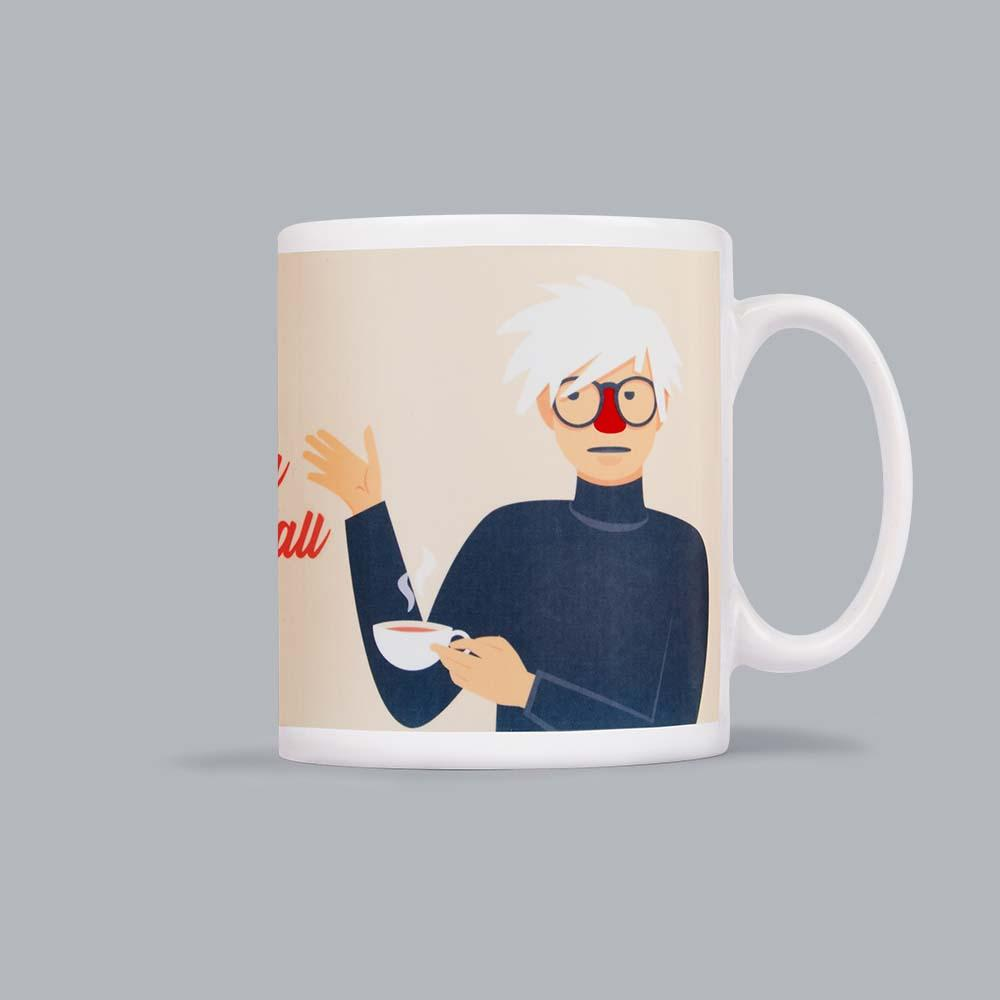 Mug featuring an illustration of artist Andy Warhol