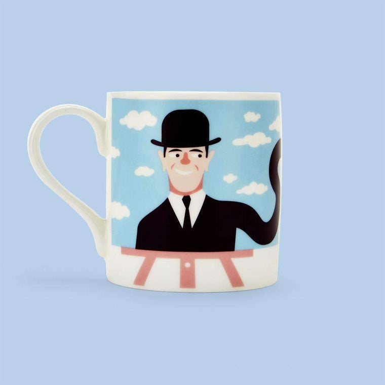 Mug featuring an illustration of artist Rene Magritte
