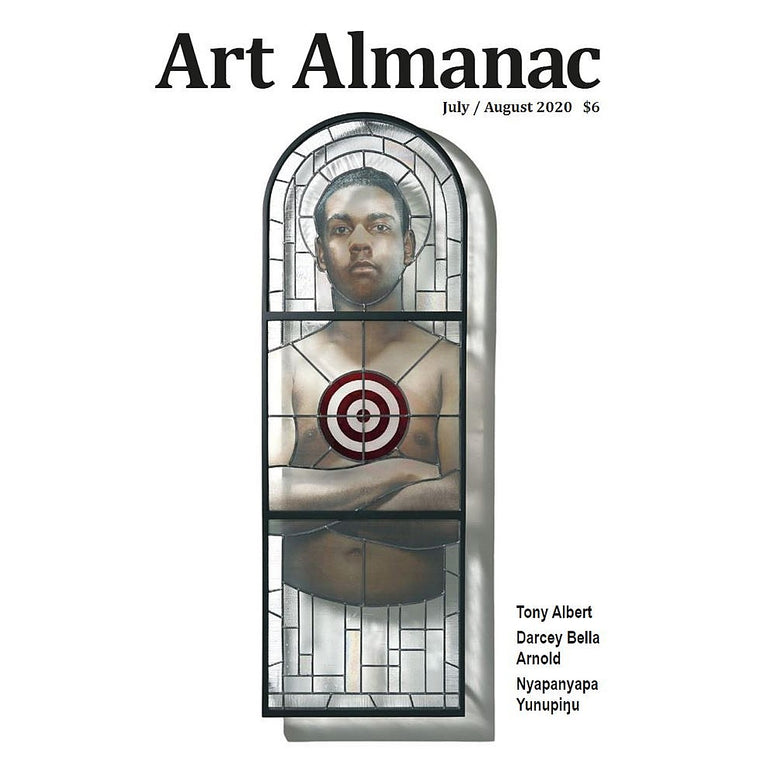 The Cover of the July / August 2020 issue of Art Almanac. Featuring work by Tony Albert.