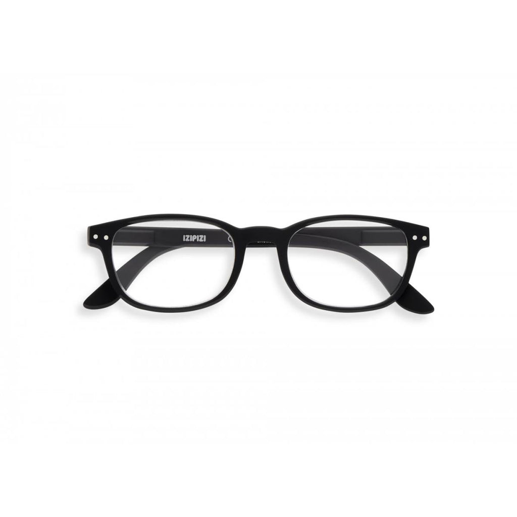 A black pair of magnifying reading glasses. The frames are an elegant, classic, rectangular shape.