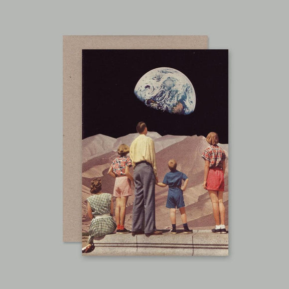 Greeting Card featuring collage by Beth Hoeckel includes human figures desert background with earth
