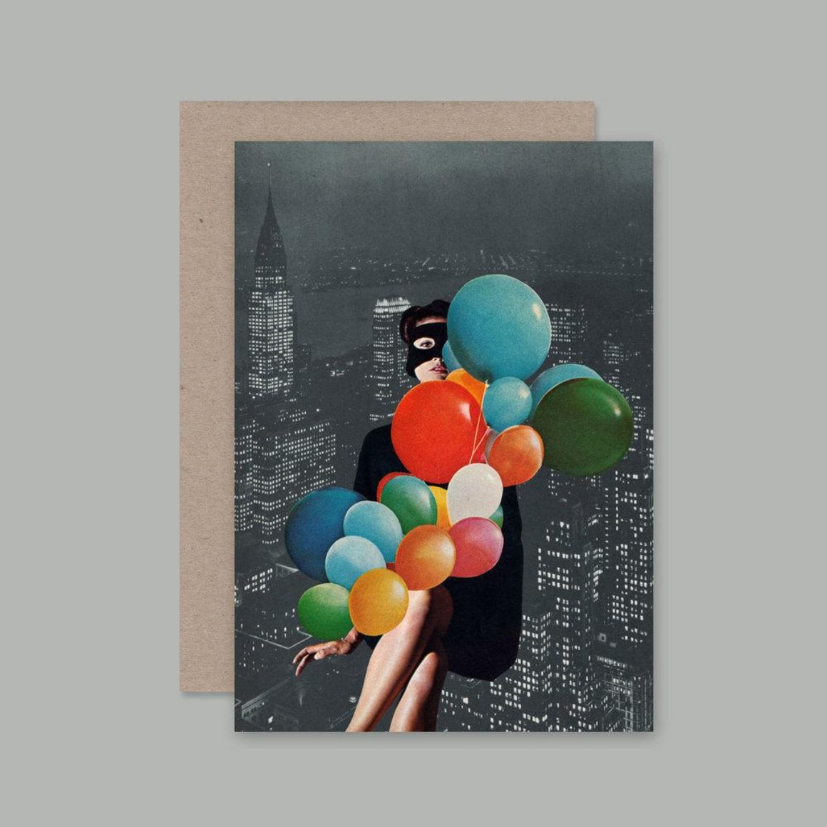 Collage image featuring a black and white landscape of a city then featuring a girl wearing a mask with a collection of colorful balloons which she is holding