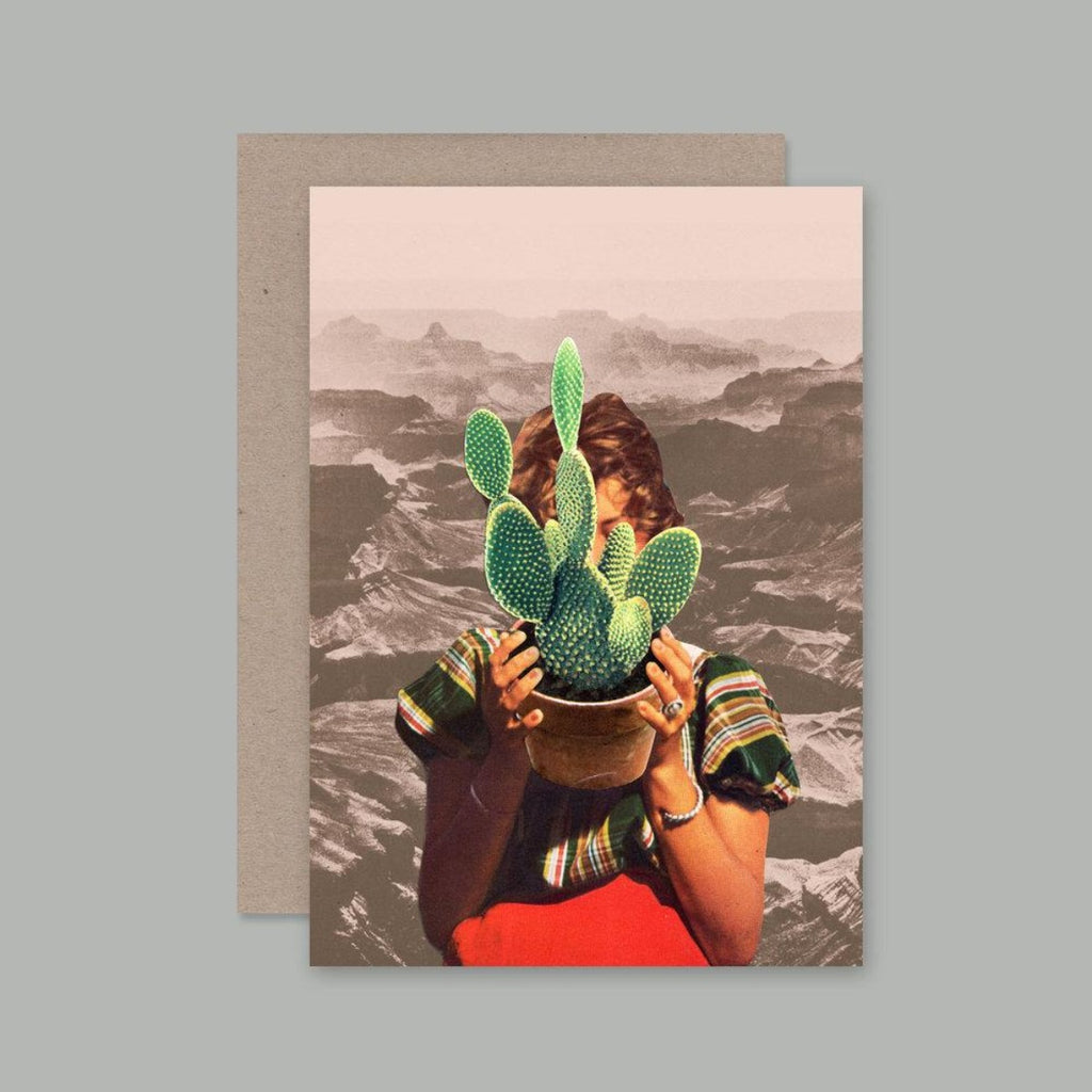 Greeting Card featuring collage by Beth Hoeckel includes female figure desert background holding up a cactus in a pot
