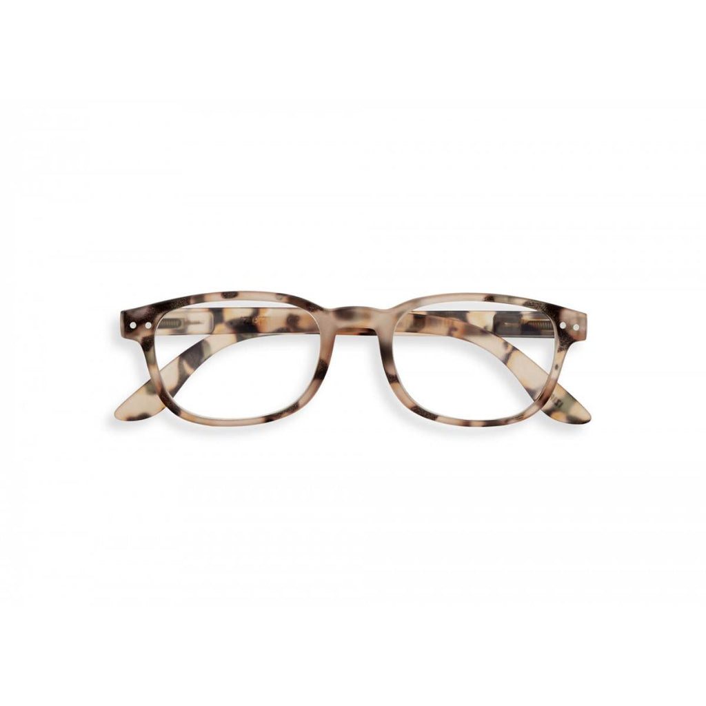 A pair of magnifying reading glasses. The frames are an elegant, classic, rectangular shape in a mottled light tortoise shell finish.